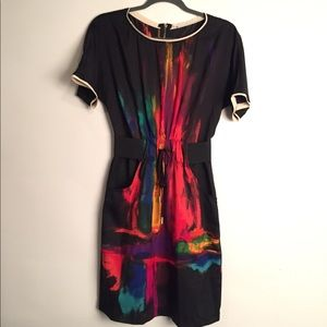 Vintage 80's abstract dress EUC L
